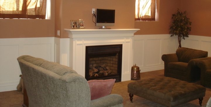 Fireplace mantel and wall trim